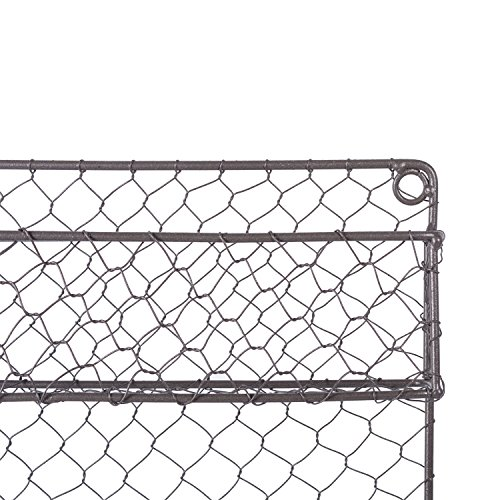 DII Z01446 2 Tier Vintage Metal Chicken Wire Spice Rack Organizer for Kitchen Wall, Pantry, Cabinet or Counter, Small/9.5