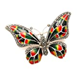 Sterling Silver Multi Color Enamel Butterfly Pin w/Marcasite Stones