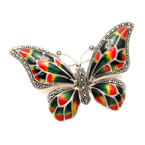 Sterling Silver Multi Color Enamel Butterfly Pin w/Marcasite Stones by Wild Things