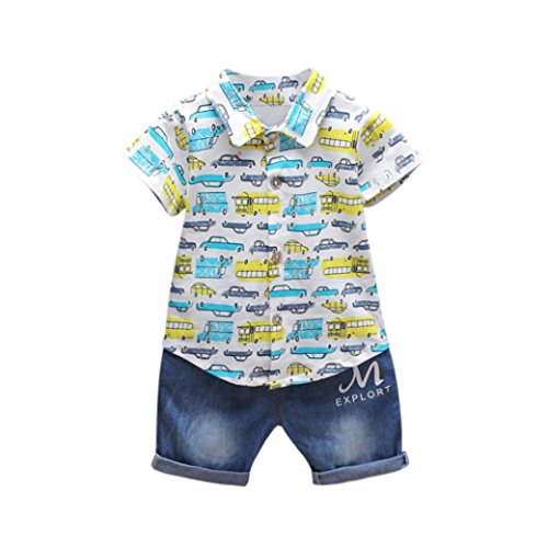 Price comparison product image Minisoya Newborn Infant Toddler Baby Boys Cartoon Cars Printed T-Shirt Tops Denim Pants Jeans Summer Outfits Clothes Set (Blue,  18M)