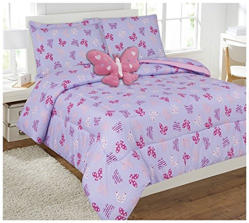 6 Piece Comforter Set Kids Bed in a Bag- Twin (Butterfly (Pink Bed Bag)