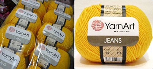 55% Cotton 45% Acrylic Yarn YarnArt Jeans Cotton Blend Thread Crochet Hand Knitting Art Lot of 8skn 400 gr 1392 yds color Yellow 35 by Yarn Art