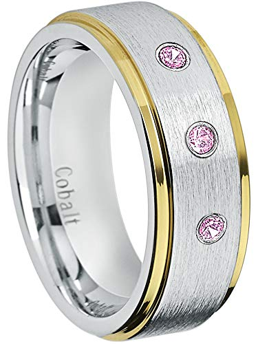 - Jewelry Avalanche 8MM Comfort Fit Brushed 2-Tone Yellow Gold Stepped Edge Men's Cobalt Chrome Wedding Band - 0.21ctw Pink Tourmaline 3-Stone Cobalt Ring - October Birthstone Ring -13