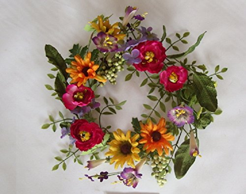 Elegant Windsor Gardens Silk Candle Ring Small Wreath 14 Inch Handmade Artificial Silk Hydrangeas Vibrant Ranunculus Rudbeckia Colorful Mix Of Wild Flowers Perfect Indoor Tabletop - Hydrangea Ring Candle