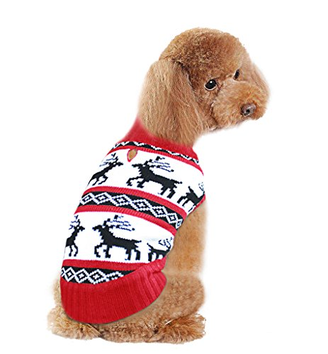 Holiday Christmas Reindeer Vintage Classic Dog Sweater (10