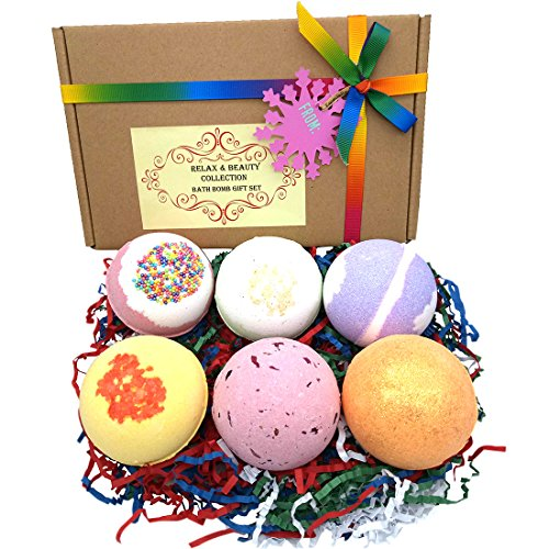Relax & Beauty Collection Handmade Bath Bomb Gift Set, 6x4.5oz Large Size, Assorted Color/Effect, Natural Ingredient with Essential Oil, Moisturizing Skin, Great