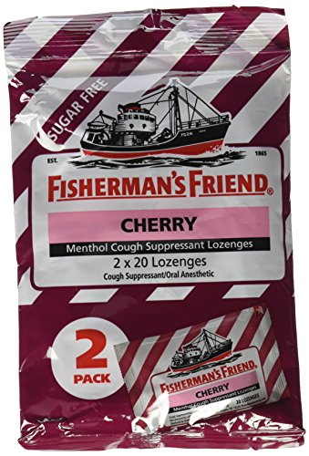 Fisherman's Friend Sugar Free Cherry Cough Suppressant Lozenges, 40-count Bags (2 Sets) - Cough Suppressant
