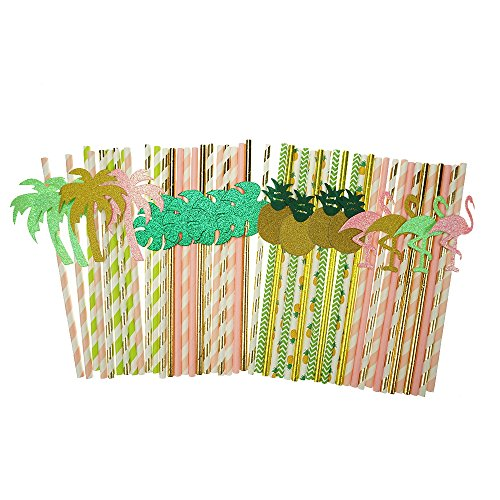 Bilipala Hawaii Decorative Paper Party Straws Coconut Trees Flamingo Pineapple Tropical Palm Straws Decor Baby Shower, Birthday, Pool Party Supplies Pack of 48