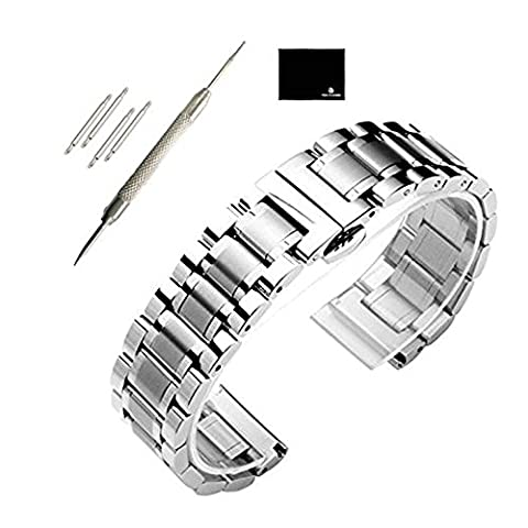 TON CHARME Stainless Steel Watch strap With Push Button Butterfly Deployment Clasp Replacement WatchBand For Samsung S3 18/19/20/21/22/24/26mm (24mm, - Stainless Steel Butterfly Deployment Clasp