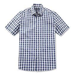 GGIO2 Boy's Casual Check Plaid Big Small Pattern Blue Short Sleeve Check Shirts