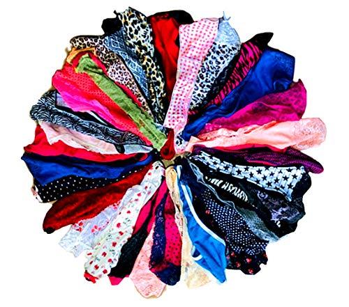 O'Kalyn Varity of Women Underwear Panties Pack Thong G-String T-Back Lacy Tanga Assortment (20 Pcs, Large)