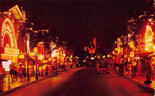Postcard Night View of Main Street, Disneyland, Anaheim, - Anaheim Store Disneyland
