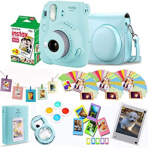 Fujifilm Instax Mini 9 - Smokey White Instant Camera + Film 20 Shots + Personalized Leather Case + Magnetic Acrylic Frame + Filter Set & Selfie Lens 90 PC Design Kit (Smokey White)