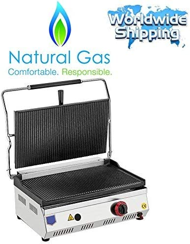 NATURAL GAS 6900 BTU industrial Commercial Grade Kitchen Equipment Non-Stick CAST IRON GROOVED PLATES Restaurant Cafe Catering Panini Press Grill Sandwich Griddle Maker Machine HUGE SIZE