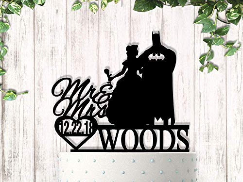 Southern Belle and Super Hero with Last Name and Date Wedding Cake Topper ()