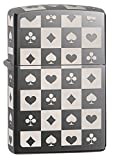 Zippo Card Suit Tiles Pocket Lighter, Black Ice