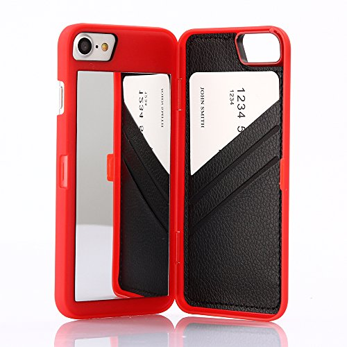 Wetben Case for iPhone 8,Hidden Back Mirror Wallet Case with Stand Feature and Card Holder for Apple iPhone 7/8, 4.7 (Red)