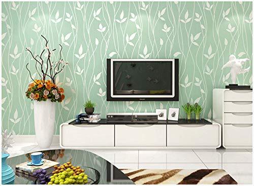 Yosot Modern Leaf Pattern Striped Non-Woven Wallpaper Bedroom Living Room Tv Background Wallpaper Light Green ()