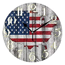 ZZKKO Wooden Art American Flag Map Wall Clock, Silent Non Ticking Battery Operated Easy to Read Decorative Wall Clock for Kitchen Bedroom Bathroom Living Room Classroom