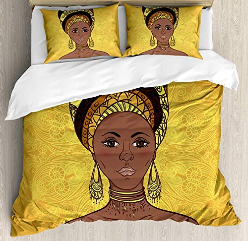 African Woman Duvet Cover Set Queen Size, Tribal Woman Portrait in Turban Ornate Mandala Inspired Round Motif, Decorative 4 Piece Bedding Set with 2 Pillow Shams, Yellow Brown Cocoa