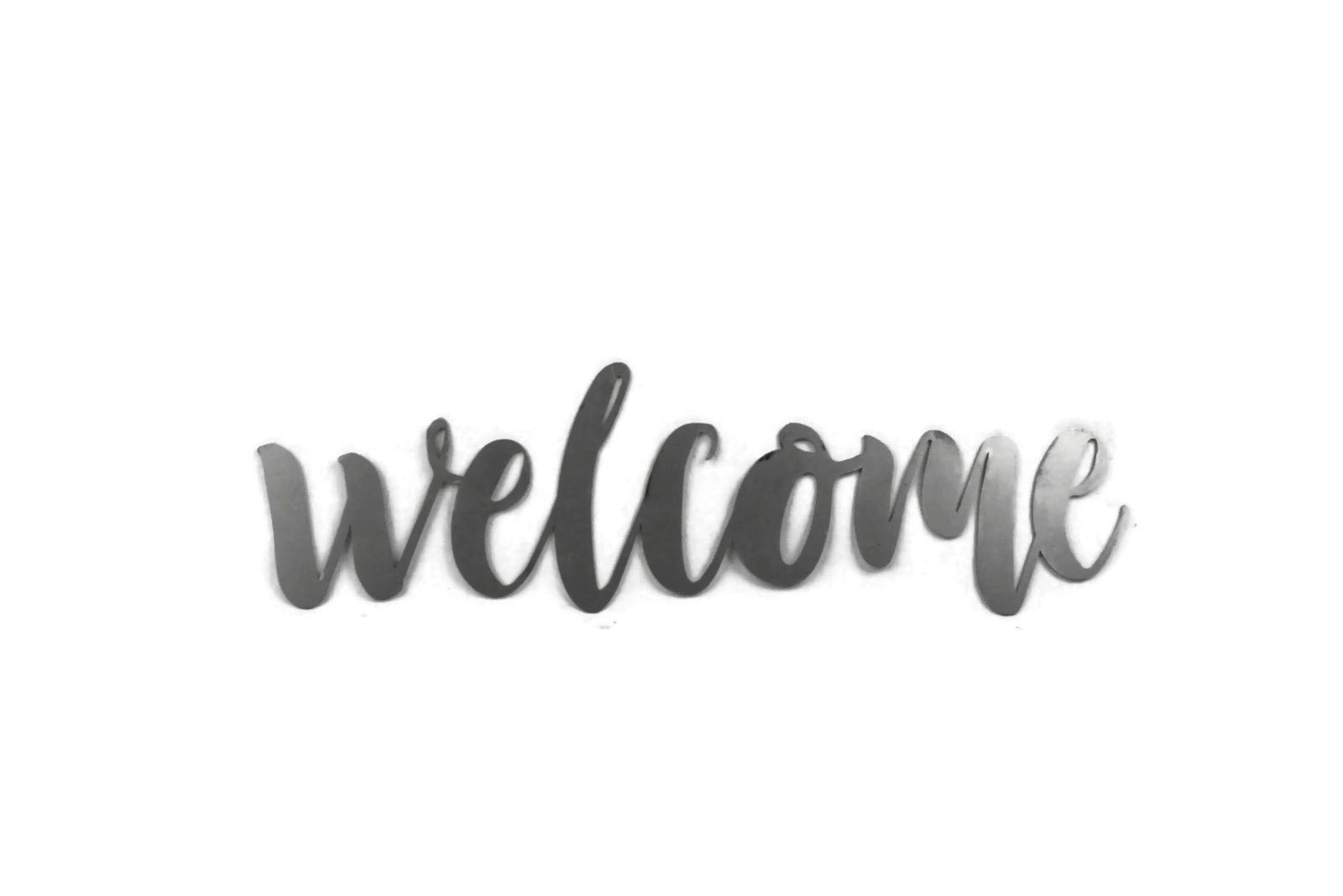 Welcome Small Size Raw Steel Unpainted Word Art by 81 Metal Art