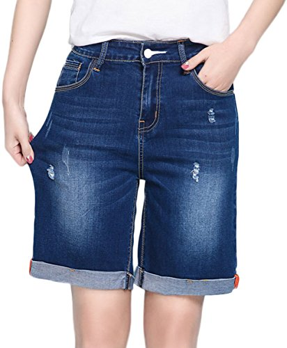 Innifer Women's Large Plus Size Knee-Length Stretch Denim Bermuda Shorts Jeans by Innifer