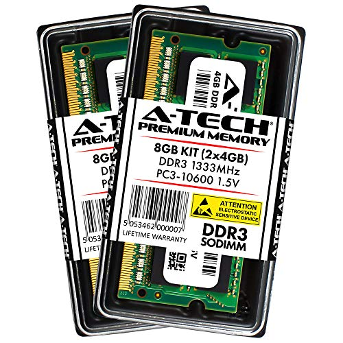 A-Tech 8GB Kit (2x 4GB) DDR3 1333MHz PC3-10600 204-pin SODIMM Laptop Notebook Computer Memory RAM Modules