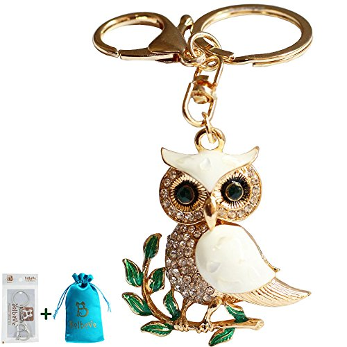 Bolbove Cute Owl on Leaves Sparkling Charm Blingbling Keychain Crystal Rhinestone ()