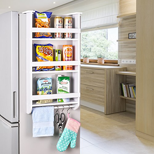 Refrigerator Side Storage Shelf, Sunix Upgraded White Paint 3 Tiers Kitchen Organizer Spice Jars Rack, Fridge Storage Shelf Side Storage Wooden Organizer Rack Shelf, White