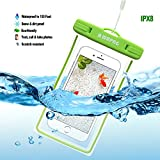WAPAG TPU Waterproof Dry Bag Pouch, Fluorescence Case for iPhone 7 6 Plus 6S 5SE, Samsung Galaxy s7 Edge, HTC 10 LG G5, Huawei P9, Water Snow Dirtproof for Surfing Diving Skiing Snowboard IPX8 (Green)