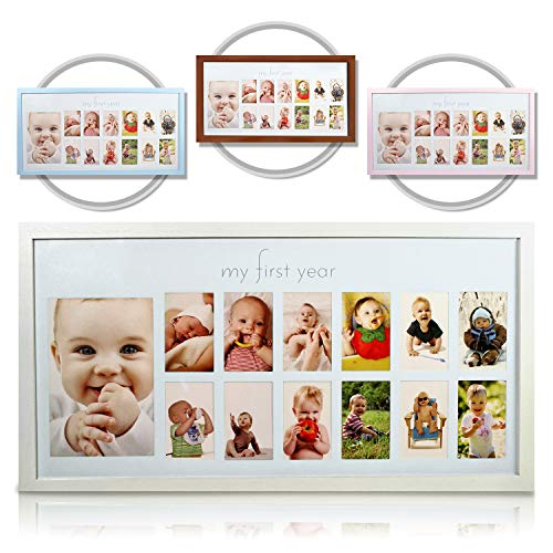 Baby's First Year Frame in Elegant White Natural Wood - My First Year Baby Picture Frame for Photo Memories (White) ()