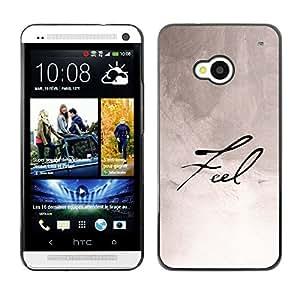 Qstar Arte & diseño plástico duro Fundas Cover Cubre Hard Case Cover para HTC One M7 ( Feel Calligraphy Paper Handwritten Note Ink)