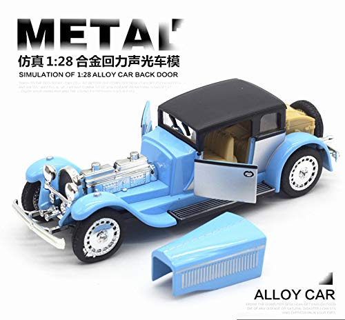 Generic Double Horses 1 28 Classic car Alloy Diecast Car Model Pull Back Toy Car Model Electronic Car Kids Toys Gift bluee