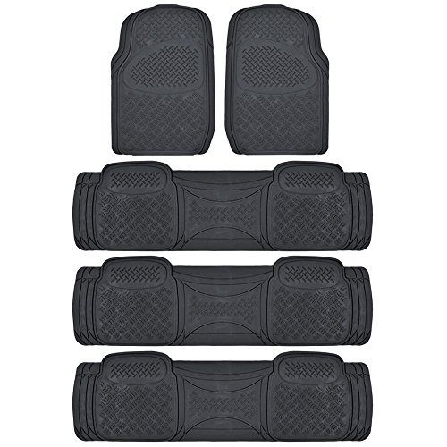 (BDK Black 4 Rows Rubber Floor Mats for Car SUV Van - All Weather Heavy Duty Max Protection, Trimmable)