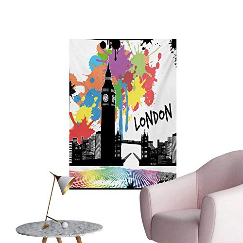 Anzhutwelve Retro Photographic Wallpaper Vintage London City View with Color Splashes Poster Style Grunge Urban Artwork ImageMulticolor W24 xL36 Space Poster