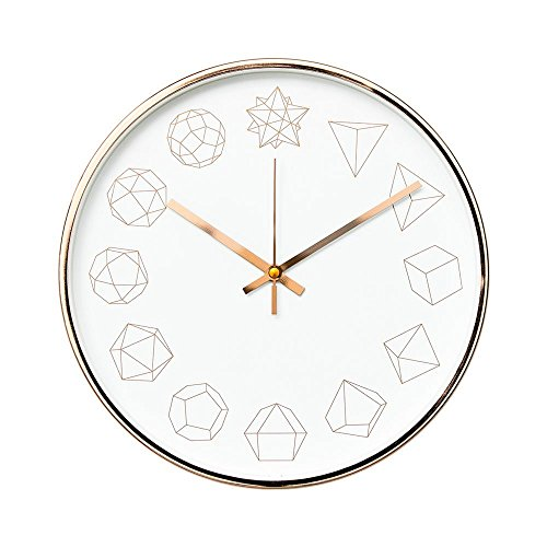 "Modern Geometric Shapes Design 12"" Non-Ticking Sweep Silent Wall Clock (Rose Gold)"