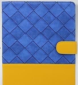 Moonmini Folding Stand Flip Case Cover Skin Protector for Apple iPad Mini - Blue + Yellow