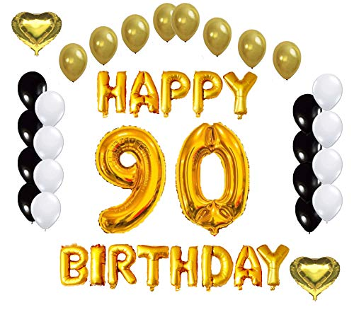 PartyPlace Golden Happy 90th Birthday Decorations Bundle Helium Large 40Inch 90 Number Balloon 16Inch Letter Foil And 2 Heart Shape Balloons