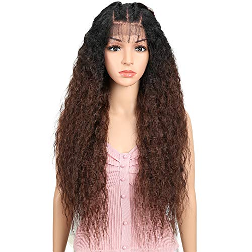JOEDIR 28 Water Wavy Free Part Lace Frontal Wigs With Baby Hair Hight Temperature Synthetic Human Hair Feeling Wigs For Black Women 180% Density Wigs Ombre Color 200g(TT1B/33)