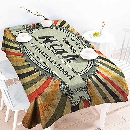 EwaskyOnline Resistant Table Cover,Vintage Rainbow Retro Style Sign with Spiral Colorful Lines on Grunge Worn Out Background,Fashions Rectangular,W54x90L, Multicolor]()