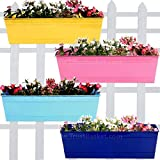 Trust Basket Set of 4 Rectangular Railing Planters - Yellow, Blue, Teal and Pink (18 Inch)