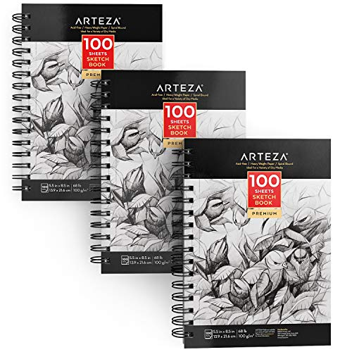 "ARTEZA 5.5X8.5"" Sketch Book, Pack of 3, 300 Sheets (68 lb/100gsm), Spiral Bound Artist Sketch Pad, 100 Sheets Each, Durable Acid Free Drawing Paper, Ideal for Kids & Adults, Bright White"