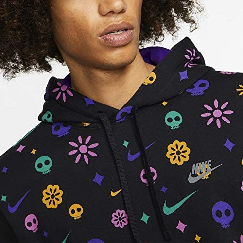 Nike Mens Day of The Dead Club Pullover Hoodie CU3516-010 Size L