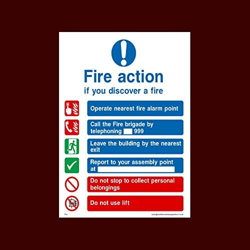 Fire Action if you discover a fire - Call the Fire Brigade on 999 Sticker / Self Adhesive Sign - Fire, Assembly Point, Break Glass, Lift, Alarm, Extinguisher - (FA2)