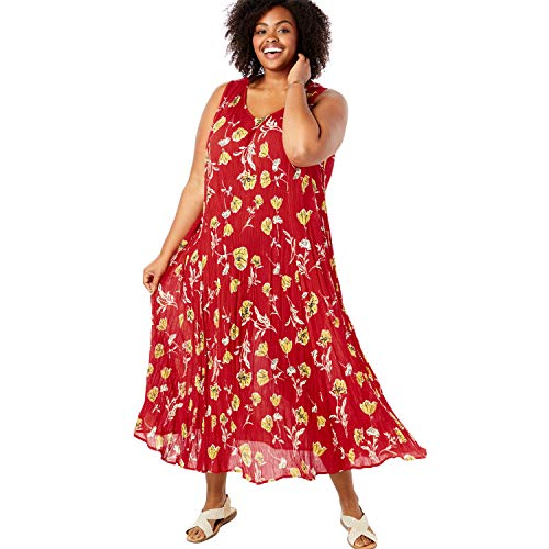 Woman Within Women's Plus Size Petite Sleeveless Crinkle A-Line Dress - Vivid Red Vintage Floral, 2X
