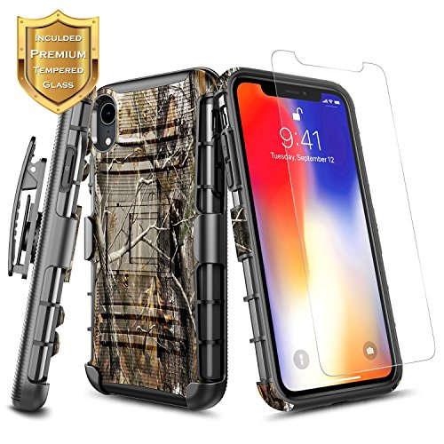 - iPhone XR Belt Clip Holster Case w/[Tempered Glass Screen Protector], NageBee Defender [Heavy Duty] Shock Proof Kickstand Combo Rugged Durable Ultra Protection Case for iPhone XR (6.1 inch) -Camo