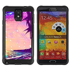 "Hypernova Defender Series TPU protection Cas Case Coque pour SAMSUNG Galaxy Note 3 III / N9000 / N9005 [Glitter Purple Palms Miami Tropics""]"