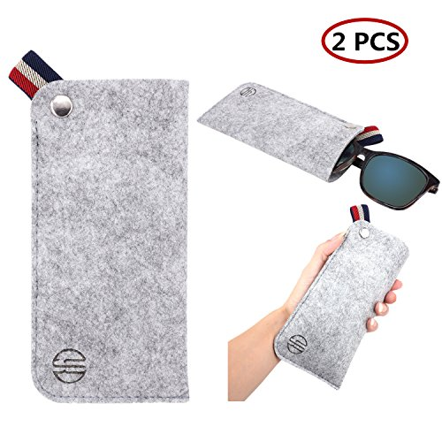 YR Soft Eyeglass Case,Slim Ultralight Pouch Cases For Sunglasses Eyeglasses Reading glasses, Portable Eyewear Holder For Travel,Sunglass case,2 Pack -Light - Case Cute Sunglasses