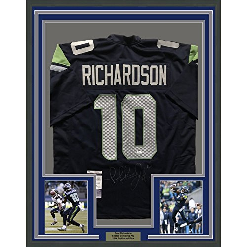 Framed Autographed/Signed Paul Richardson 33x42 Seattle Seahawks Blue Football Jersey JSA COA