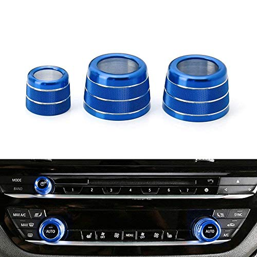 iJDMTOY 3pcs Blue Anodized Aluminum AC Climate Control and Radio Volume Knob Ring Covers For 2017-up BMW G30/G31 5 Series ()